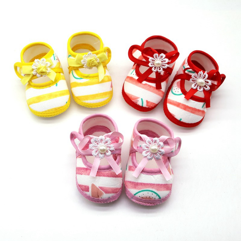 Newborn Baby Girl First Walker Shoes Cotton Cartoon Watermelon Pattern Anti-Slip Shoes Toddler Soft Soled First Walkers Shoes