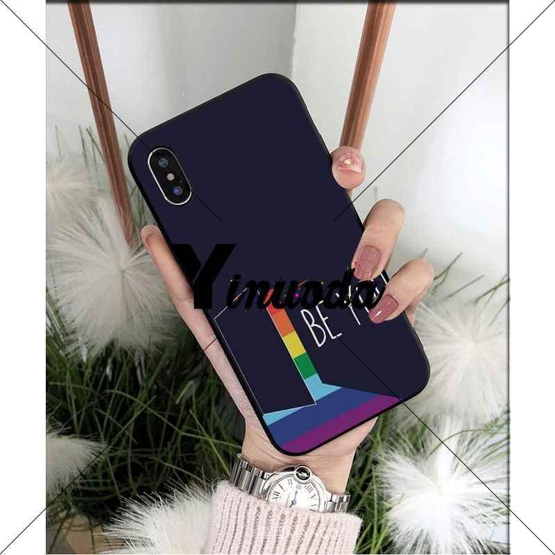 Yinuoda Gay lesbiana LGBT Arco Iris Orgullo Negro suave Shell teléfono cubierta para iPhone X XS MAX 6 6S 7 7plus 8 8Plus 5 5S XR
