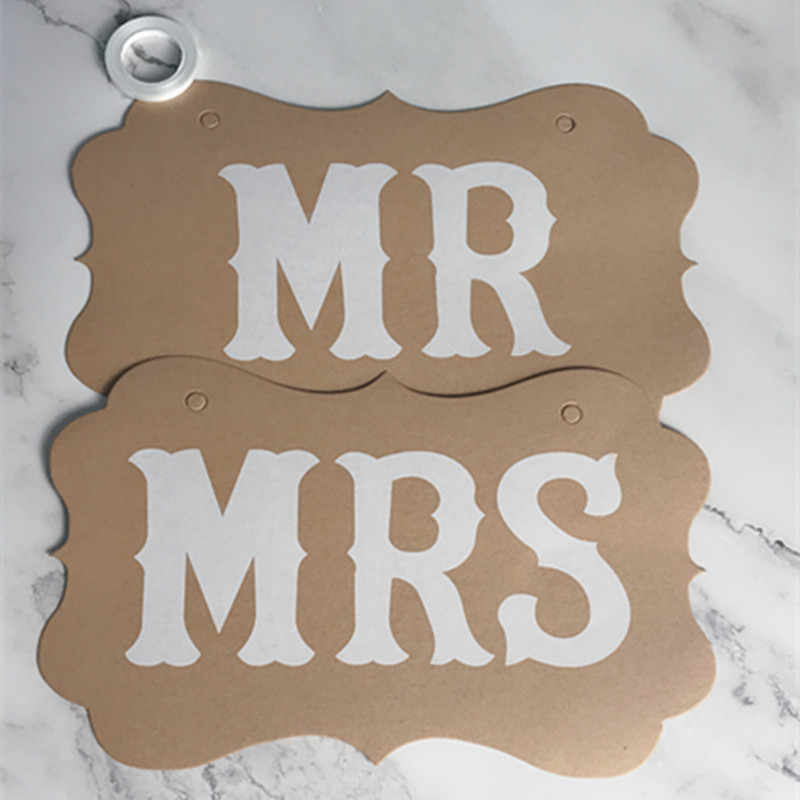 2pcs Wedding Decoration Props Black Mr Mrs Paper Board Ribbon Sign Letter Garland Banner Photo Booth Party Diy Decorations Favor
