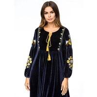 Lengthen Dresses Women Spring Autumn Muslim Robe Plus size Embroidery Dresses Female Korean velvet Splice Dresses National style