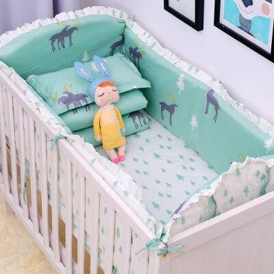8 pièces classique couronne bébé literie ensemble doux nouveau-nés berceau literie ensemble bébé lit pare-chocs feuille couette taie d'oreiller Multi couleurs/tailles