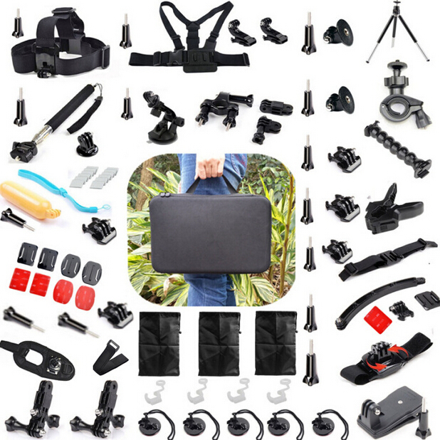 57 in 1 Sport Camera Accessory Kit Suction Cup Mount Holder + 360 Rotary Clip Mount For GoPro Hero 2 3 3+ 4 SJ4000 xiaomi yi 360 degree rotary spring clamp clip holder for gopro hero 1 2 3 3 4
