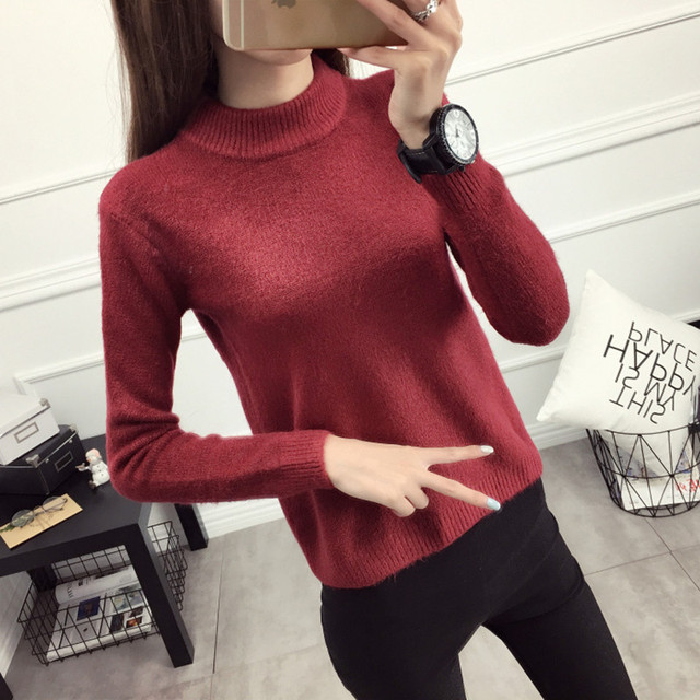 2017 Autumn Winter Women Sweaters and Pullovers Turtleneck Long Sleeve Knitting Jersey Mujer Invierno Chandail Femme