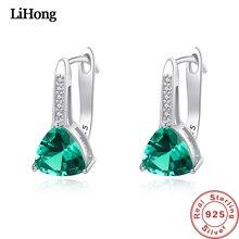 Hot Sale Stud Earrings Women S925 Sterling Silver Natural Green Pink Blue Geometric Shaped Gemstone Earring Jewelry Female