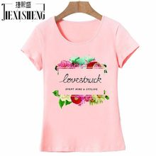 2017 Summer Women T-Shirt Cotton O-Neck Short Sleeve T Shirt Postcard Flowers Print Tops Tees Camisetas brand clothing
