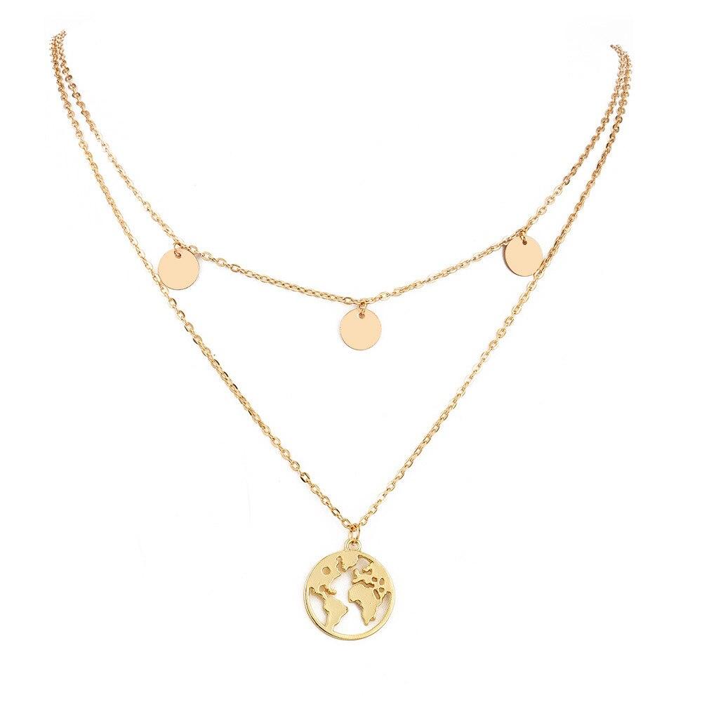 Boho Layered Earth Pendant Necklace 1