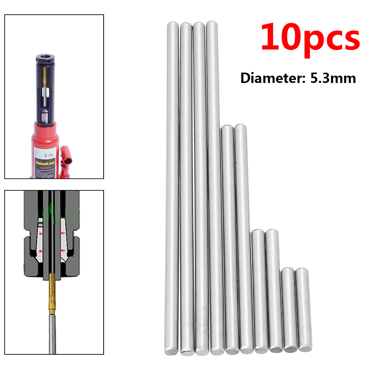 New 10pcs Ejector Pins Set For Pushing Rifling Buttons High Hardness Full Specifications Steel Reamer Machine Tools Accessories