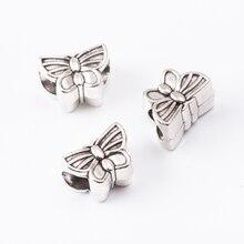 20pcs butterfly Scattered beads Tibetan silver jewelry alloy fit Chamilia bracelet DIY js2021