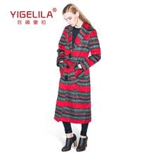 YIGELILA Brand 9305 Latest New Fashion Hot Women Striped Wool Long Coat Trench