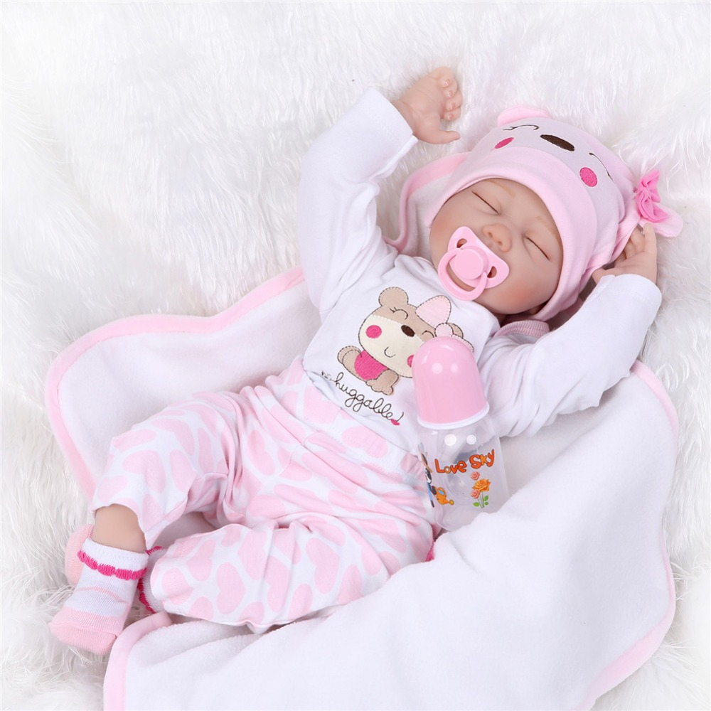 NPKCOLLECTION Bebe Reborn Dolls de Silicone Girl Body 55cm Sleeping Reborn Doll Toys For Girls Newborn Baby Bebe Doll Best Gifts little cute flocking doll toys kawaii mini cats decoration toys for girls little exquisite dolls best christmas gifts for girls
