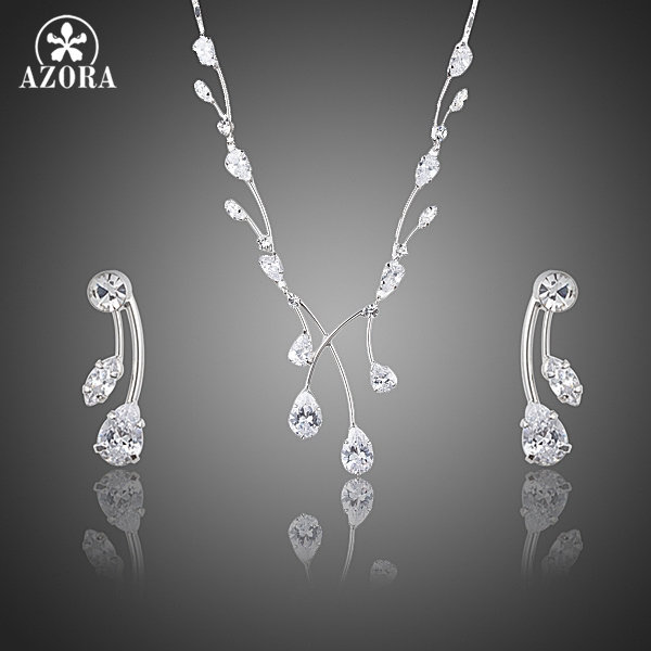 AZORA Elegant Princess Clear Waterdrop Top grade Cubic Zirconia Drop Earrings and Pendant Necklace Jewelry Sets TG0202