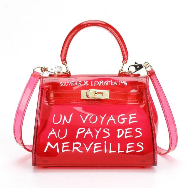 2019 Satchel Handbag Women Bag Clear Jelly Transparent PVC Bag Candy Color  Tote Bag Designer Purse 6ed0f66e9f7ab
