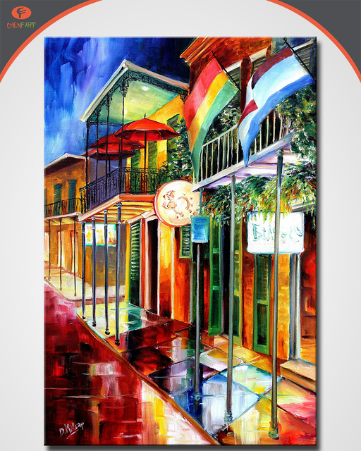 Oil Painting Diane Millsap Bourbon Street Neon Home Decorative Art Picture Paint Wall