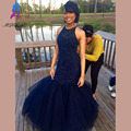 Gorgeous Navy Blue Mermaid Prom Dresses Long Party Evening Dress Halter Tulle Pearls Back Zipper Court Train Custom Made