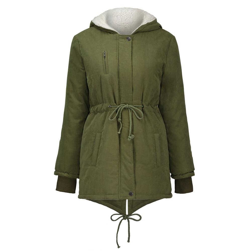 Winter Parka Coat Army Green Long Thick Cotton Women Overcoat Deluxe Korea Swallow Tail Casual Warm Fleece Hooded Autumn Jacket