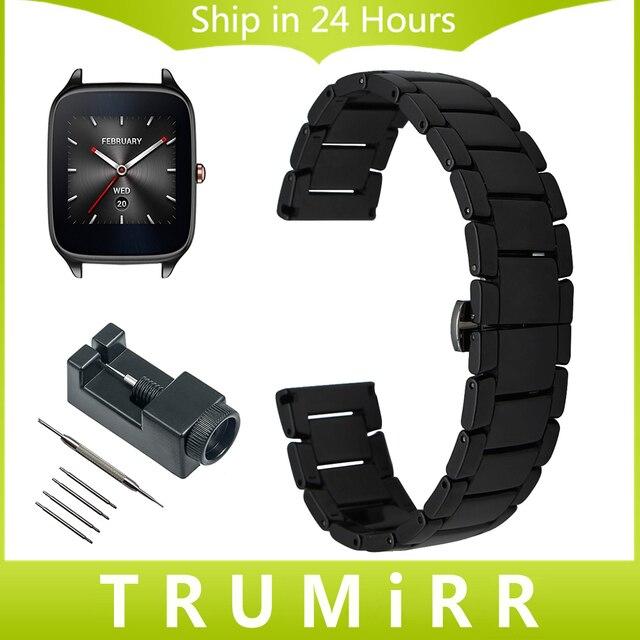 22 мм Полный Керамической Ремешок + Инструмент для Asus ZenWatch 1 2 Мужчины LG G Watch W100 R W110 Urbane W150 Butterfly Застежка Ремешок Наручные группа