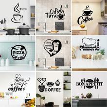 Пользовательские настенные Стикеры для кухни для Декор для ресторана пиццы Кофе домашний декоративный виниловый Водонепроницаемый стикер на стену
