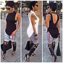 HIRIGIN 2017 Summer Fashion Women's Ladies Sleeveless Black White Vest Top Sleeveless Blouse Casual Tank Tops Shirt