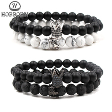 HOBBORN Trendy Natural Stone Women Bracelet Matt Lava CZ Crystal Crown Strand Beads Couple Bracelets Set Love Jewelry Cruz