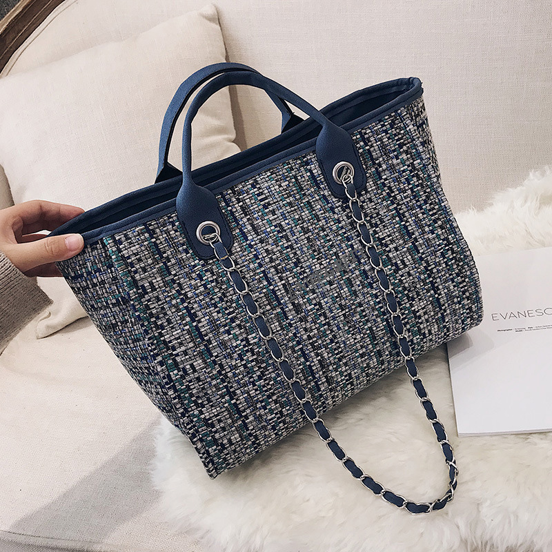 Handbag Plaid Beach-Bags Shoulder-Bag Cloth Large-Capacity American Solid-Color Casual