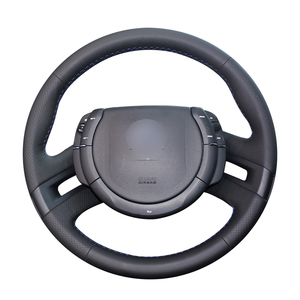 Image 1 - Hand stitched Black PU Artificial Leather Car Steering Wheel Cover for Citroen C4 Picasso 2007 2013