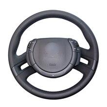 יד תפור שחור PU מלאכותי עור רכב הגה כיסוי עבור סיטרואן C4 פיקאסו 2007 2013