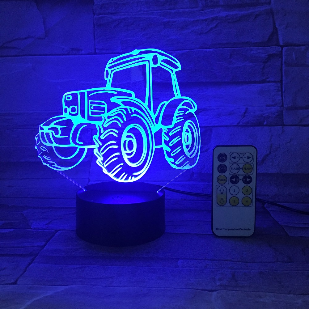 Remote or Touch Control USB Line Battery Operated Light Creative 3D LED Light Tractor 7 Color Changing Nightlight Desk Deco Lamp