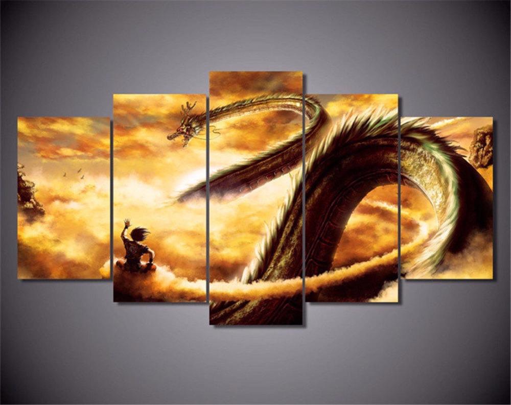 5pcs/set Waterproof Canvas Painting Dragon Ball Animation HD Print ...