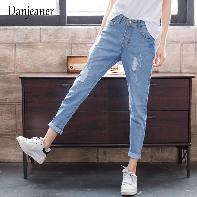Danjeaner Plus Size Hole Ripped Jeans Women Harem Pants Loose Ankle-Length Pants Boyfriends Style For Woman Ladies Skinny Jeans