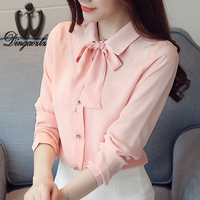 Dingaozlz shirt female bow chiffon shirt fashion long sleeves chiffon blouse 2017 autumn solid color stitching women tops