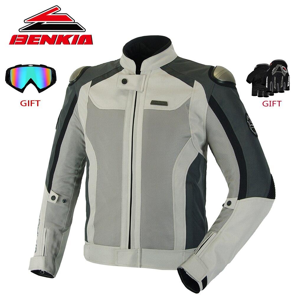 BENKIA verano motocicleta Jcaket hombres Racing ropa de malla transpirable chaqueta primavera y otoño en cuerpo armadura protectora JW67