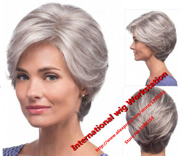 Straight silver Grey short Wig side bangs fashion Heat Resistant synthetic gray hairstyles hair wigs for old Women Elderly Lady
