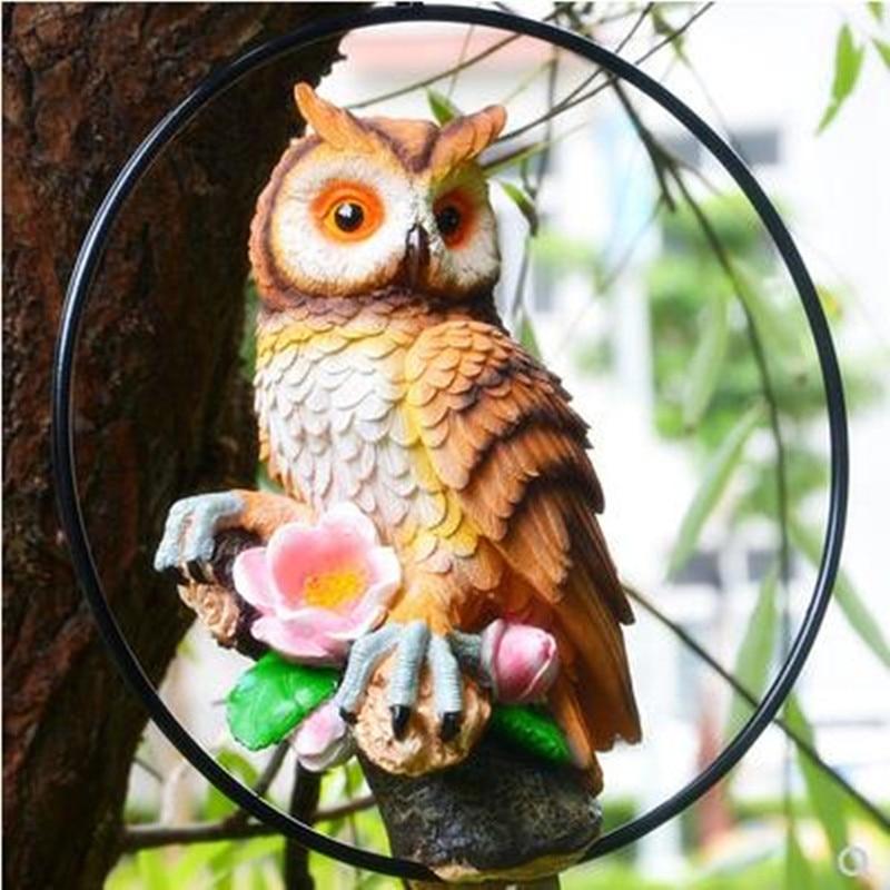 Ornements de hibou modèle Animal, pendentifs d'oiseaux de simulation, artisanat en résine, décorations de jardin à la maison,