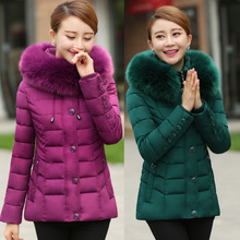 2017 Middle – aged cotton women short paragraph winter large size thick down jacket with fur collar middle – aged coat