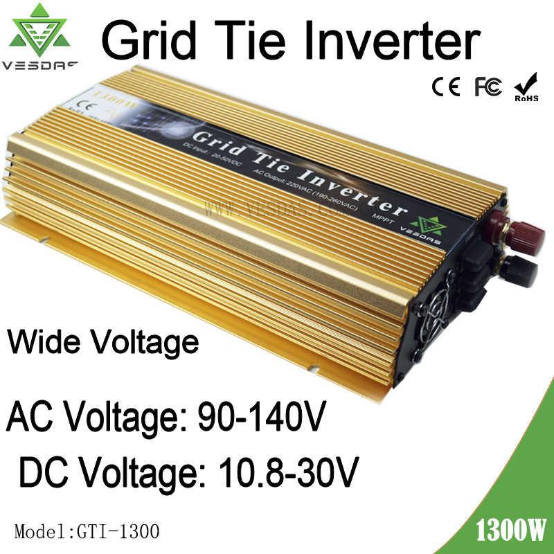 Frete grátis 1300 W Grade Empate Inversor 10.8-30VDC para 90-140VAC 18 de Onda Senoidal Pura Inversor de 1500 W V sistema de painéis solares