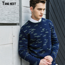 TANGNEST Men's Casual Sweaters 2017 New Arrival Men O-neck Printed Sweater Male Autumn Popular Sweaters 2 Colors M-XXXL MZM491