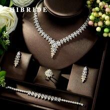 HIBRIDE High Quality Leaf Shape Wedding Jewelry Set Sparkling Zirconia Bridal Accessory Hot-sale 4PCS Set for Lady Marry N-1025