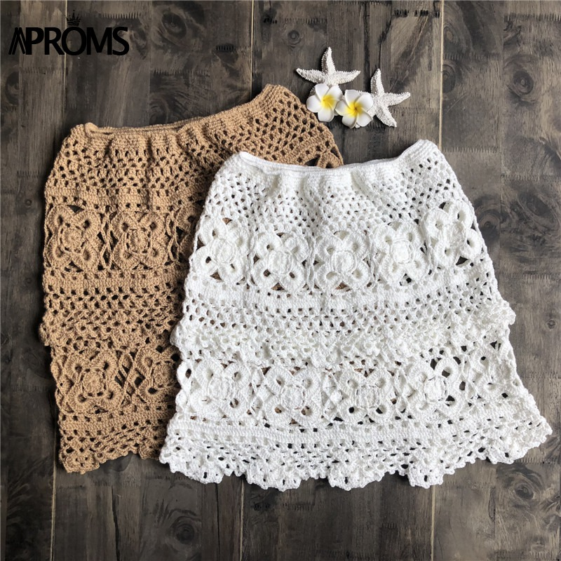 Khaki Solid Cotton Crochet Knitted Short Mini Skirts Women Summer Elastic High Waist Beach Skirt Ladies Bikini Bottoms 2019 New in Skirts from Women 39 s Clothing