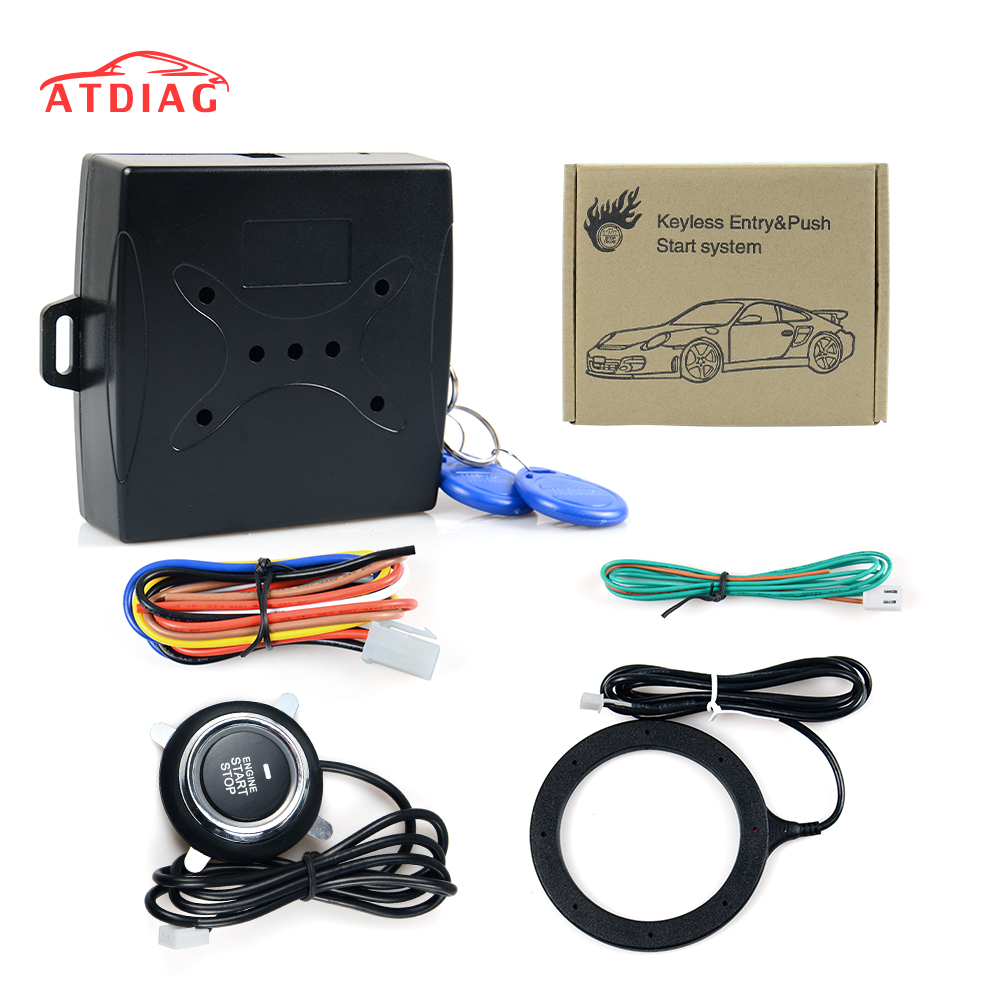 Auto Car Alarm Car Engine Push Start Button Rfid Lock Ignition Starter Keyless Entry Start Stop Immobilizer Anti-theft System Meticulous Dyeing Processes