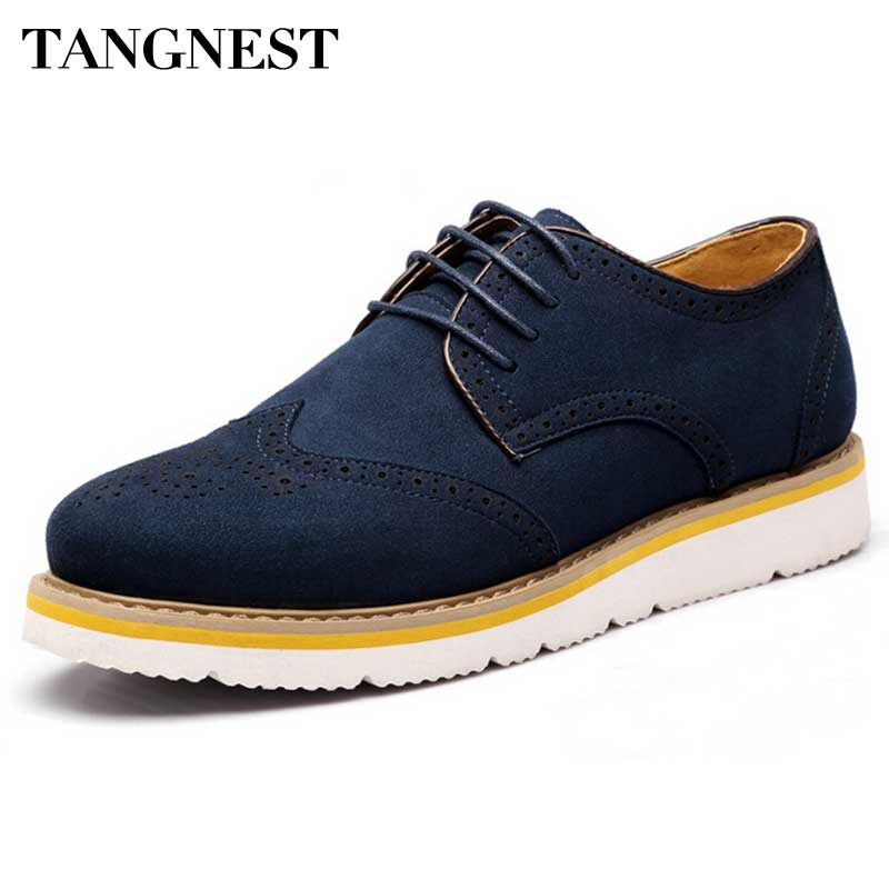 Tangnest 2018 New Men Oxfords  Autumn Cut Out Brogue Shoes Man Suede Leather Platform Flats Casual Shoes Big Size 38-47 XMP396 qmn women crystal embellished natural suede brogue shoes women square toe platform oxfords shoes woman genuine leather flats