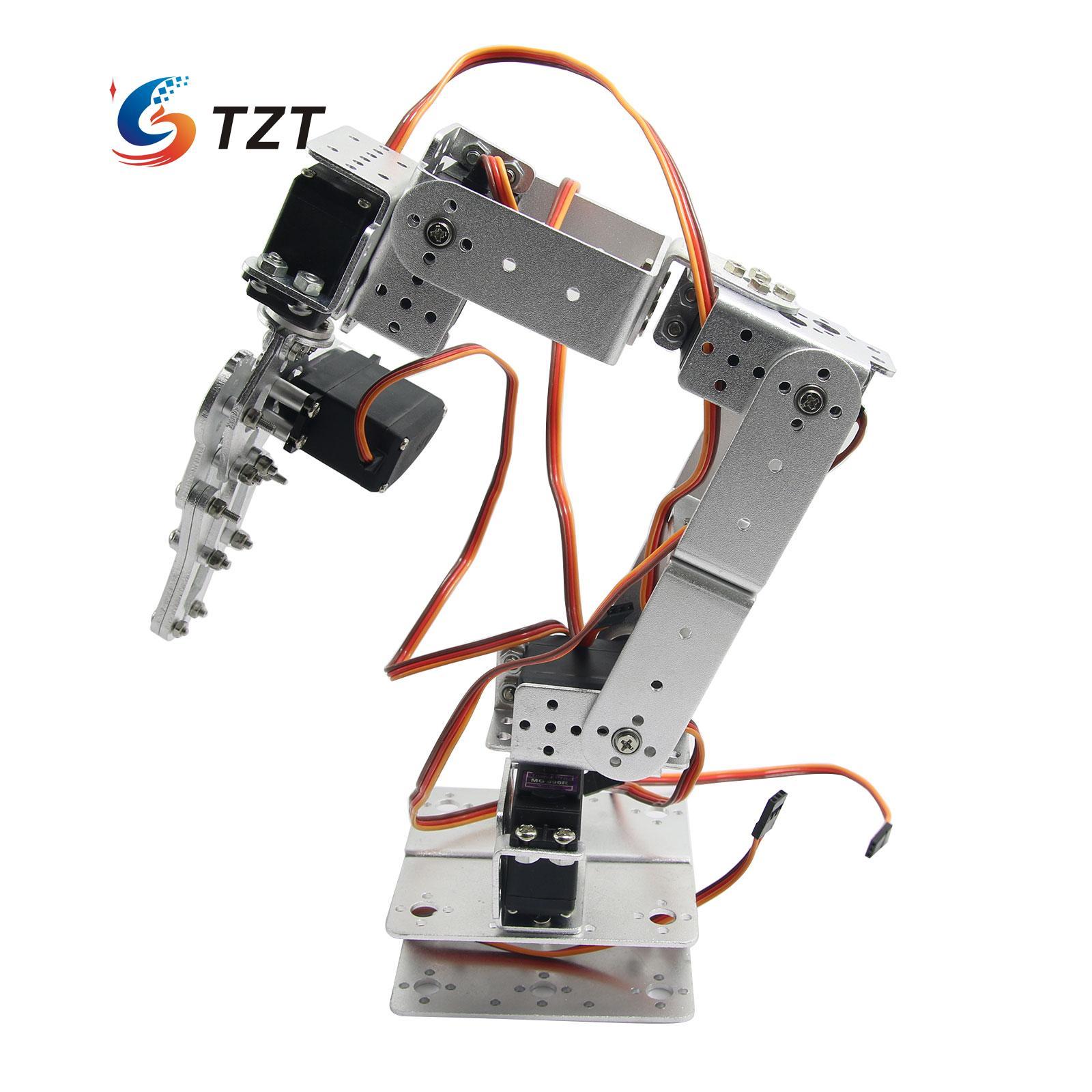 Aluminium Robot 6 DOF Arm Mechanical Robotic Arm Clamp Claw Mount Kit w/ Servos Servo Horn for Arduino-Silver  цена и фото