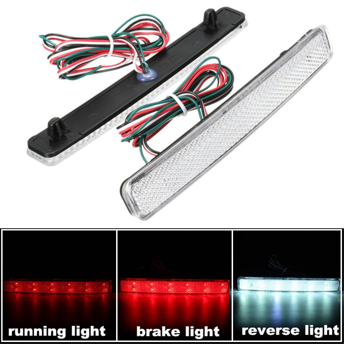2x 24 LED Auto Rear Reflectors Bumper Tail Fog Lamp Brake Stop Night Running Lights Driving Reverse Light For VW/T5 Transporter dongzhen fit for nissan bluebird sylphy almera led red rear bumper reflectors light night running brake warning lights lamp