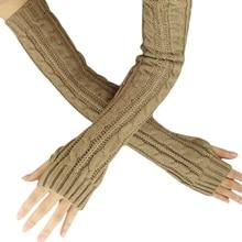 New Fashion Winter Women Men Gloves Unisex Arm Warmer Long Fingerless knit Mitten khaki