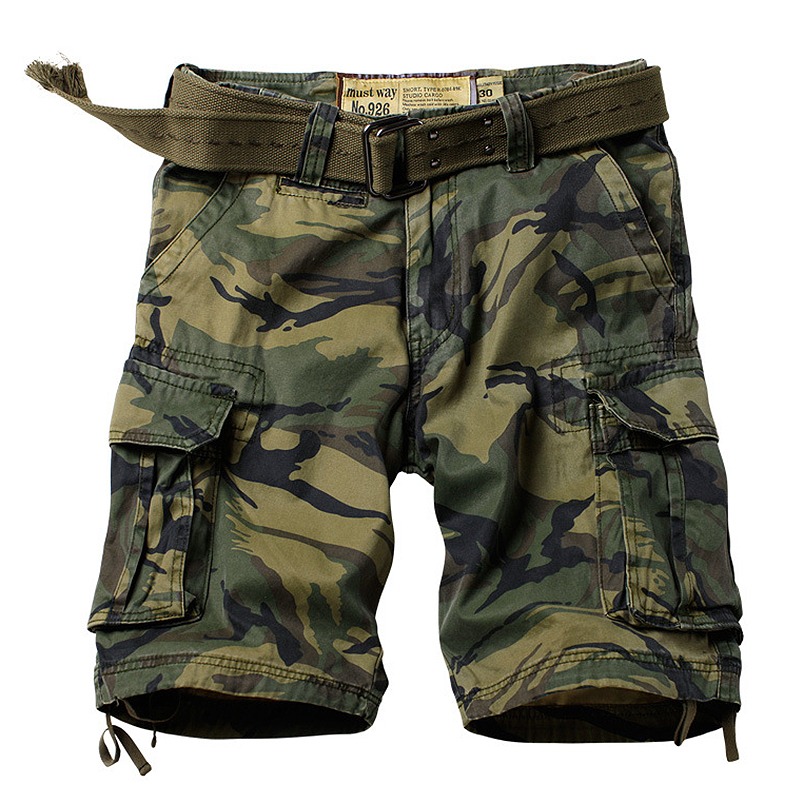 Military Camouflage Tactical Shorts Men Many Pockets Army Cargo Summer Casual Loose Cotton Camo Tactical Military  Shorts