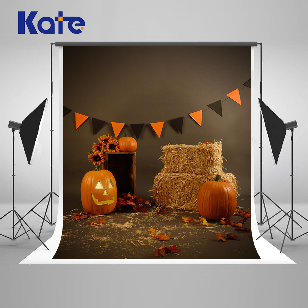 Kate Children Photography Backdrops Halloween Haystack Pumpkin Background Photography Backdrop Colored Flag Photo Background