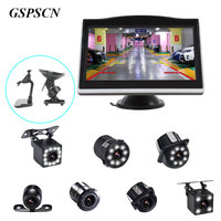 GSPSCN Parking System LCD 5 HD Car Monitor With Double Bracket 170 Degree Waterproof LED Night