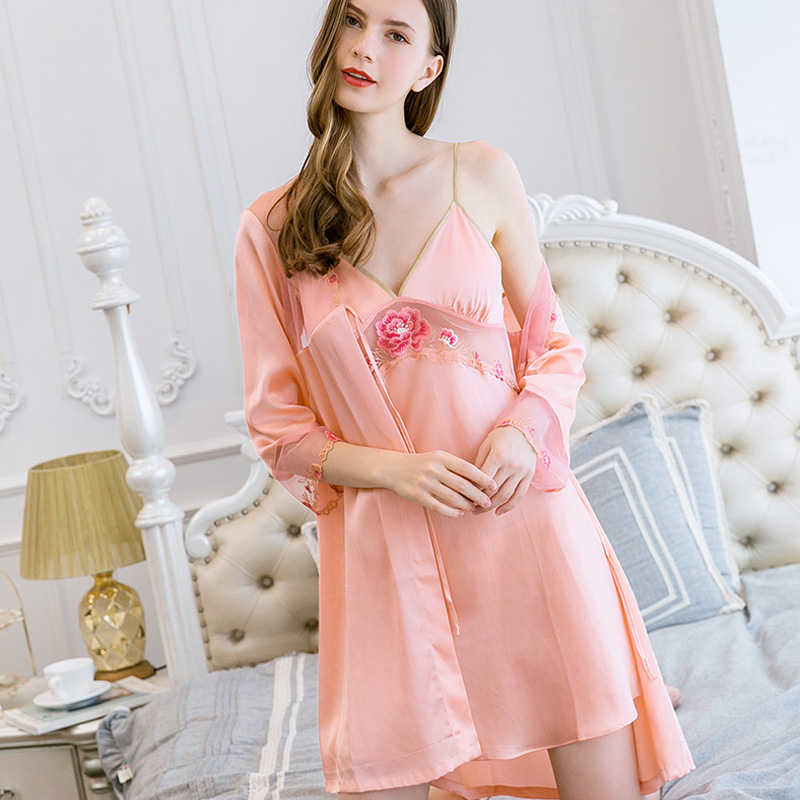 100% Real Silk Women Nightgown Robe Sets Sexy Bathrobe+Camisole Flower Embroidery Summer Sleepwear Nightwear Nightie Sleep Gift