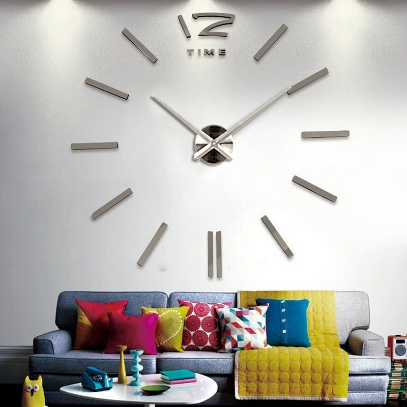 horloge murale de vente horloges 3d diy acrylique miroir autocollants - Décor à la maison - Photo 4
