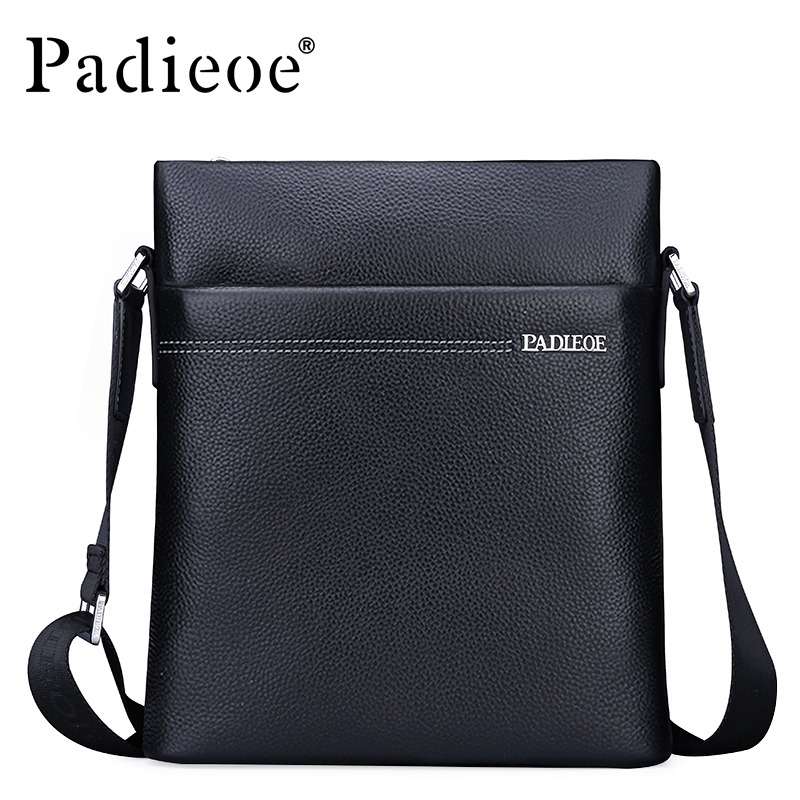 Padieoe Famous Brand Men Shoulder Bag Genuine Cow Leather Crossbody Bag Classic Designer Messenger Bag High Quality Male Bags padieoe men s genuine leather briefcase famous brand business cowhide leather men messenger bag casual handbags shoulder bags
