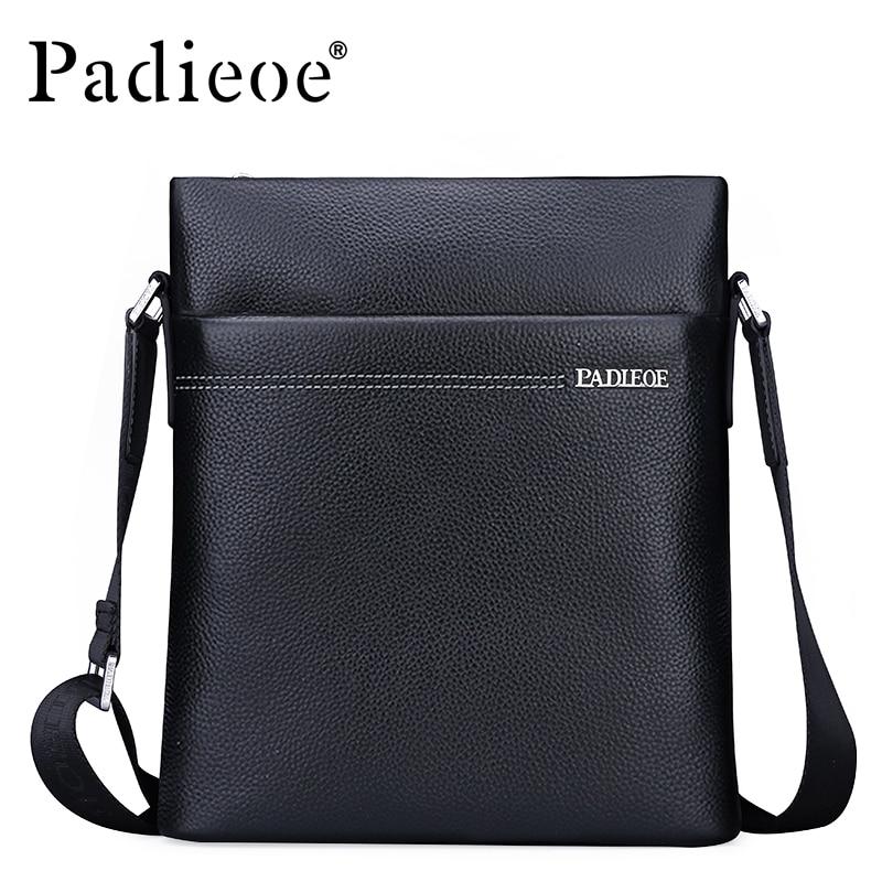 Padieoe Famous Brand Men Shoulder Bag Genuine Cow Leather Crossbody Bag Classic Designer Messenger Bag High Quality Male Bags